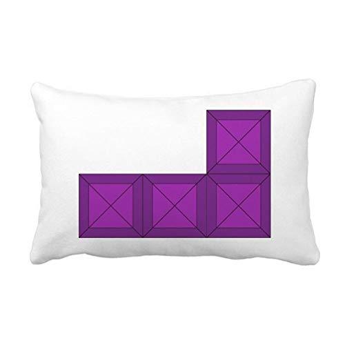 DIYthinker Klassische Spiele Tetris Lila Block-Wurf Lumbar Kissen Kissenbezug Startseite Dekor-Geschenk 16 Zoll x 24 Zolls Mehrfarbig