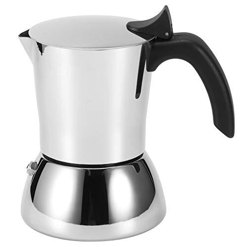 fuwinkr Estufa De Café Espresso, Cafetera De Acero Inoxidable 304, Hervidor De ExtraccióN De Olla De Moca con Mango Antiescaldado, Olla De Moka De 4 Tazas para Uso DoméStico