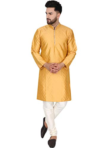 SKAVIJ Herren Tunika Kurta Pajama Kariert Party Kleid (Gold, XL)