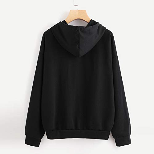 Aniywn Hoodies, Women Loose Letters Printed Hooded Blouse O-Neck Casual Ladies Daily Sweatshirt Pullover Tops Black