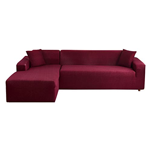 Hotniu 2 pcs Plaid Sofa Slipcovers for L-Shaped Sectional Sofa, Stretch Sofa Cover, Soft Sofa Couch Cover, Non-Slip Sofa Cover with 2 Free Cushion Covers (3 seater + 4 seater, Red)