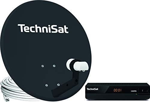 TechniSat TECHNITENNE 60 - Satellitenschüssel Komplett-Set (60 cm Satelliten-Komplettanlage mit Masthalter, Universal Twin-LNB für bis zu zwei Teilnehmer und 1x Sat-Receiver HD-S 221) anthrazit