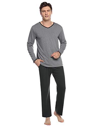 Abollria Pijamas Hombre Algodón 2 Piezas Mangas Larga Pantalon Largo Invierno Cómodo y Agradable (XL, Gris Oscuro_3)