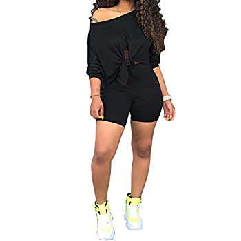 FANDEE 2 Piece Outfits for Women Sexy Clubwear Off Shoulder Tracksuit Black Large
