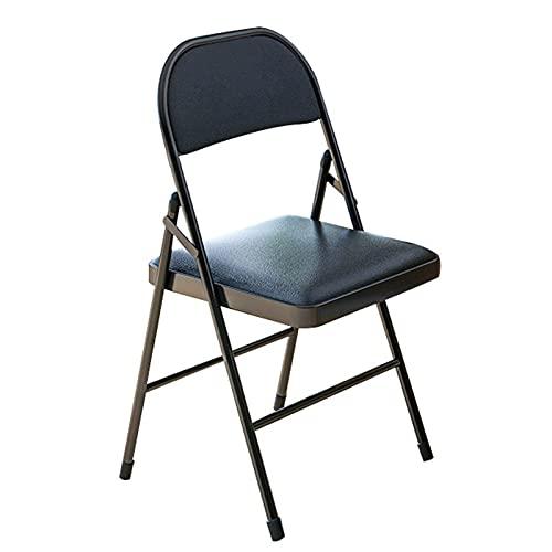 Silla Plegable de Metal, portátil, Acolchada, cómoda, Plegable, sillas de Piel sintética, para dormitorios, escuelas, conferencias, salón de Eventos, Asiento Temporal,Negro