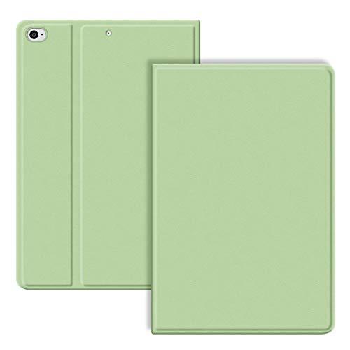 VAGHVEO Fodral för iPad 9,7 tum 2017/2018/iPad Air/Air 2 Case, PU Läder Stötsäker Smart Cover Skal Justera Stativ[Automatisk Vakna/Sömn], Flexibel Mjuk TPU Skyddande Bakskydd för iPad 5/6th, Ljus Grön