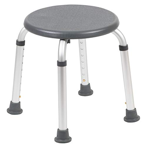 Flash Furniture HERCULES Series Tool-Free and Quick Assembly, 300 Lb. Capacity, Adjustable Gray Bath & Shower Stool