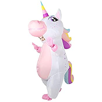 OurWarm Unicorn Inflatable Costume for Adult Funny Halloween Costume Blow Up Unicorn Costume for Man and Women Halloween Cosplay Supplies