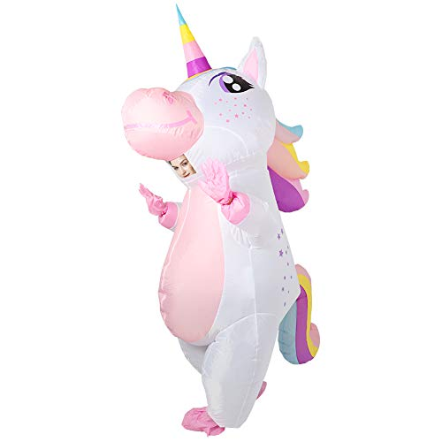 OurWarm Unicorn Inflatable Costume for Adult, Funny Halloween Costume Blow Up Unicorn Costume for Man and Women Halloween Cosplay Supplies
