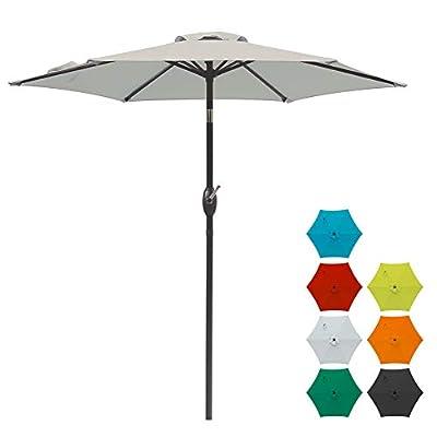 SUNVIVI OUTDOOR 7.5 Ft Patio Umbrella Outdoor Market Table Umbrella with Crank, 6 Ribs, Polyester Canopy,Beige