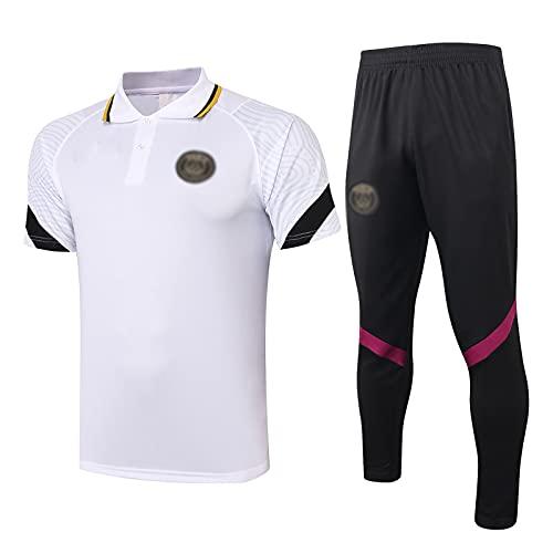 oein Chándal de fútbol 2021, transpirable, cuello alto antes del juego, camiseta unisex de París (camiseta + pantalones cortos) (color: blanco, tamaño: XXL)