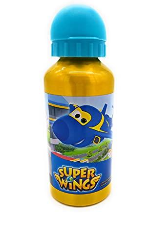 botella agua niño super wings aluminio cantimplora antifugas libre de BPA 400ml.