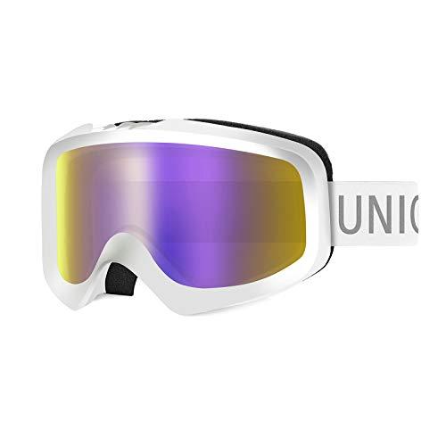 Unigear Gafas de Esquí OTG Esquiar Protección UV 400 Snowboard Revo Lentes Doble Anti-Niebla Anti-Reflejo de Nieve para Niño Niña