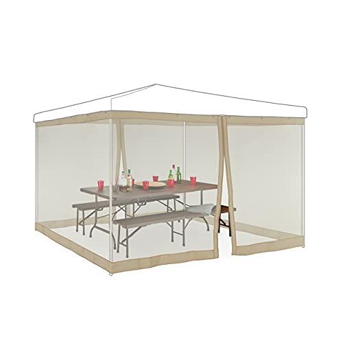Relaxdays Moskitonetz für 3 x 3 m Pavillon, 2 Seitenteile, mit Reißverschluss & Klettband, 12 m XL Mückennetz, beige