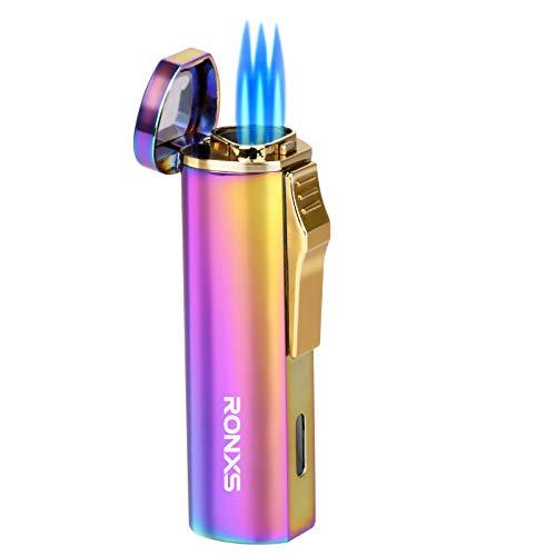 Ronxs Sturmfeuerzeug, 3 Jet Flammen Feuerzeug Gasfeuerzeug Zigarren Feuerzeuge Gas Nachfüllbar, Kein Gas enthalten, mit Geschenkbox,Ohne Gas (Bunt)