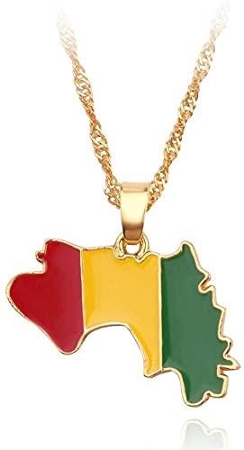 Collar de mapa Collar de mapa exquisito Bandera de Guinea Contorno Cadena de oro Collar colgante de mapa Encanto étnico Joyería brillante única para mujeres Hombres Niños Niñas Viaje Pat