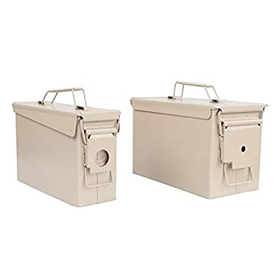 Redneck Convent RC Tan Waterproof Ammo Box Military and Army Metal Storage Box - 30 Cal Large Ammo Storage Container with Flip Top