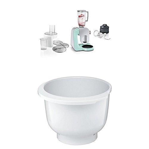 Bosch MUM58020 Küchenmaschine CreationLine, 1000 W, 3,9 l Edelstahl-Rührschüssel, 3D Rührsystem, 7 Schaltstufen, turquoise/silber + MUZ5KR1 Kunststoff-Rührschüssel für Küchenmaschine Mum5