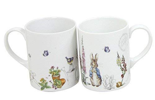 2 x BEATRIX POTTER PETER RABBIT BLEU GRIS PORCELAINE BLANCHE mugs