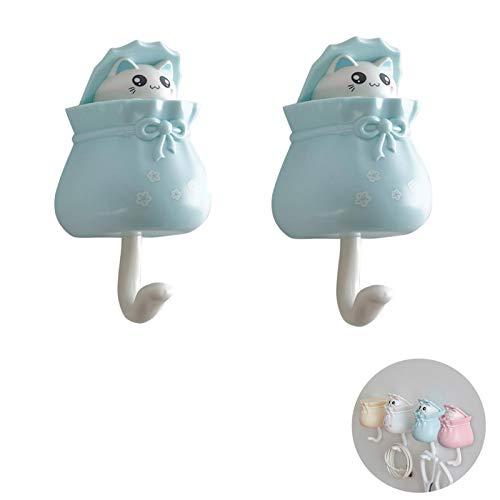 MLZYKYJZ Lucky Cat dekorativer Selbstklebender Haken, dekorativer Wandhaken zum Aufhängen von Schlüsseln/Hut/Handtuch und Mänteln (Blaue Katze)