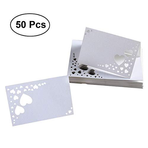 ULTNICE 50 Stück Herz Hollow Karton Name Platz Karten Name Tags Tischkarten für Hochzeit / Geburtstagsfeier / Valentinstag Dekor,falten Größe 9 * 6CM (L * W)