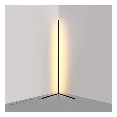 ASY Lámpara De Pie De Esquina LED Lámparas De Pie Minimalistas Modernas Esquina LED Control Remoto Regulable Luz Blanca Cálida para Decoración De Iluminación De Sala De Estar (Color : Black)