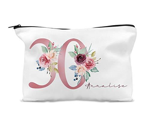 Trousse de maquillage personnalisable pour 30e anniversaire Motif floral Rose/bleu