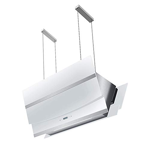 Kopffreie Dunstabzugshaube, Inselhaube (90cm, Edelstahl, weißes Glas, Extra-leise, Energieklasse A, 4 Stufen, LED-Beleuchtung, Display, TouchSelect Sensortasten) HERMES-INSEL-W902 - KKT KOLBE