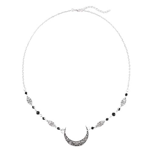 Yalice Boho Crescent Moon Head Chain Vintage Black Crystal Headband Hair Acessories for Women and Girls (Silver-1)