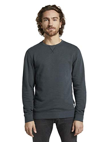 TOM TAILOR Herren Strick & Sweatshirts Schlichtes Sweatshirt Sky Captain Blue,L,10668,6000