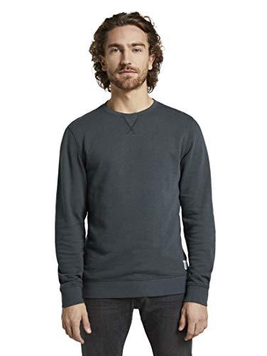TOM TAILOR Overdyed Basic Sweater Pullover Herren, Blau (Blau 10668), S