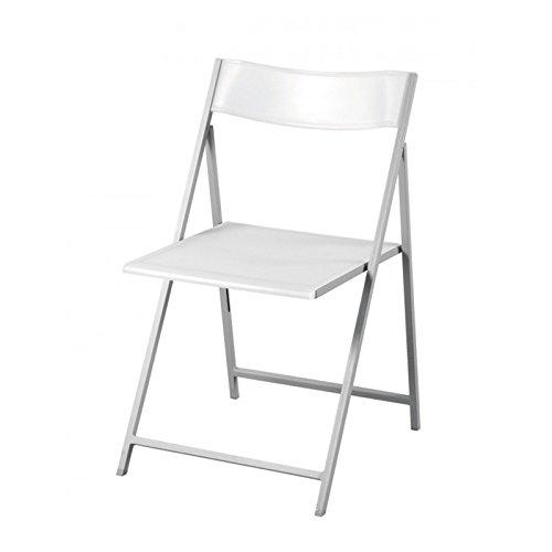 Milo srl Pz 6 Sedie Pieghevoli Slim con Seduta in PVC Struttura in Metallo Rinforzato Ideale per La Casa Arredamento Bizzotto (Slim Bianco)