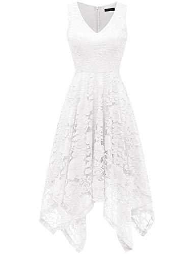 Meetjen Damen Festliche V-Ausschnitt Cocktailkleid Elegante Abendkleid A-Linie Kleid mit Spitze Hochzeit Gast Brautjungfernkleid Weiß White S