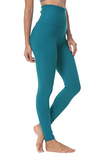 QUEENIEKE Damen-hohe Taillen Yoga Leggings Hosen Trainings Strumpfhosen Laufen, XS, Blau-grün