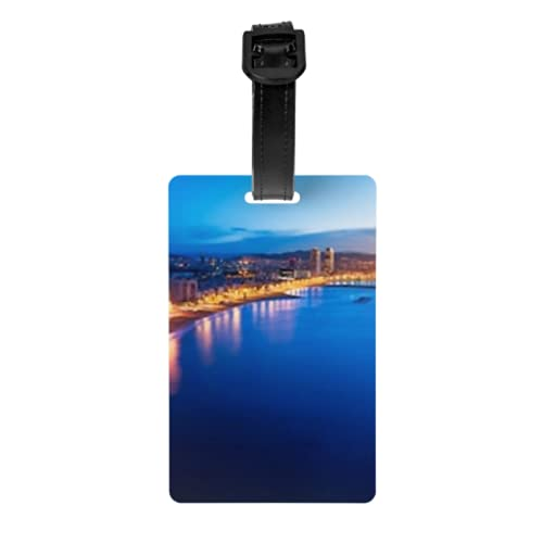 Set di 2 etichette per bagagli, vista aerea della spiaggia di Barcellona, notte d'estate, etichette per bagagli, con cinturino da polso staccabile e scheda indirizzo per valigia da viaggio