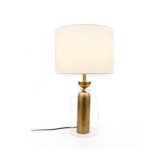 Tafellamp, eenvoudige bureaulamp, bedlamp, voor slaapkamer, achteraf glas + ijzeren soort + decoratie voor slaapkamer van stof, LED-tafellamp, 38 x 62 cm