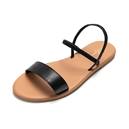 LUFFYMOMO Women's Ankle Strap Sandals Slip on Flat Sandal Elastic Comfort Summer Shoes(9 M US Black)