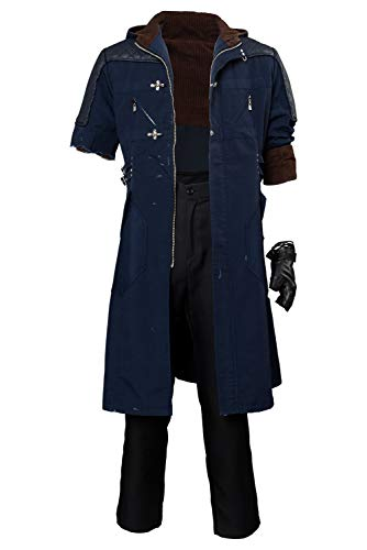 Hibuyer Men's DMC 5 Nero Cosplay Costume Adult Casual Hooded Trench Coat Outfit (Large, Style 2)