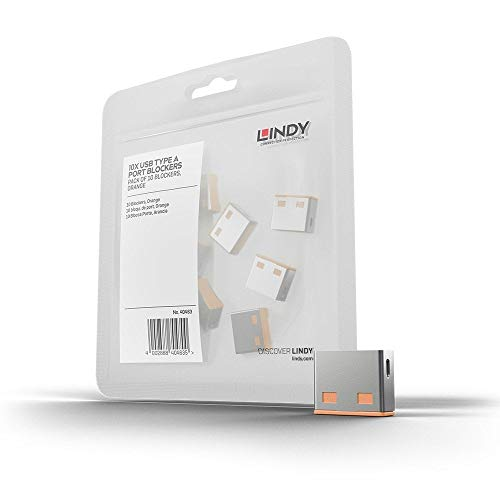 LINDY 40463 - Bloqueador de puertos USB (Sin llave) - Pack de 10 bloqueadores - Color naranja