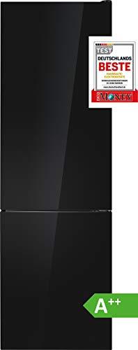 Bomann Kühl-Gefrierkombination KG 7305/ EEK A++ / Kühlen 181 L/Gefrieren 63 L/Höhe 178 cm/Breite 54,5 cm / 188 kWh/Jahr/Glas Schwarz glänzend