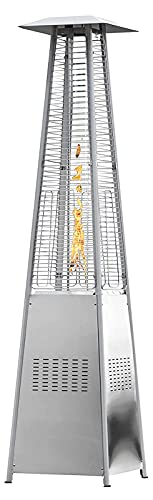 Calentador De Patio - 48000 BTU Construcción Acero Inoxidable A Base De Propano Calentador Patio Al Aire Libre Diseño Pirámide Estufa Calentador Aire Libre Para Patio, Balcón, Terraza silver