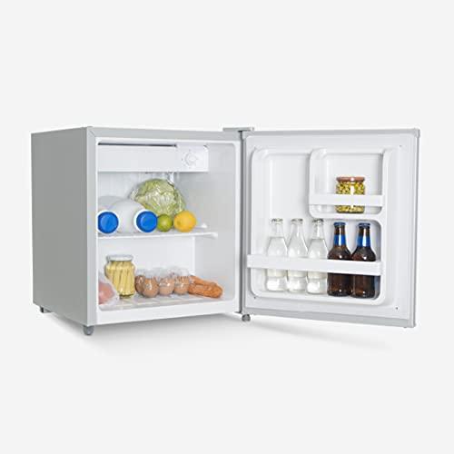 UNIVERSALBLUE Mini Bar 48 litros Plata | Frigorífico Pequeño | Nevera Eléctrica | Congelador minibar Plateado