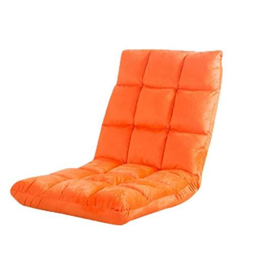 Dsrgwe Silla de Suelo Silla Plegable y Acolchada for el Piso con Respaldo Ajustable de 6 Posiciones Cojín Grueso for el Asiento Lazy Lounge Sofa Silla de meditación for Juegos (Color : Orange)