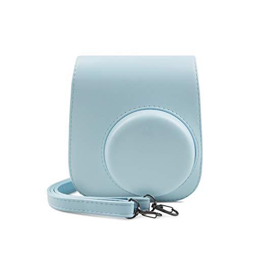 Funda Fuji Instax Mini 11, MUZIRI KINOKOO Funda Protectora para Fujifilm Instax Mini 11 Bolsa Bolsa de Transporte de Color sólido Funda de Cuero PU con Adhesivos fotográficos,Azul