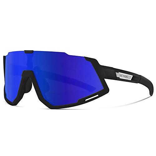 VICTGOAL Gafas Ciclismo Hombre Gafas de Sol Gafas Deportivas Polarizadas con Montura TR90 Protección UV400 con 3 Lentes Intercambiables para Hombres Mujeres (Negro)