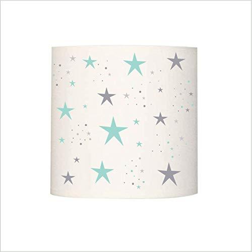 Liliduur lampenkap, magische sterren, turquoise en grijs cilindrisch