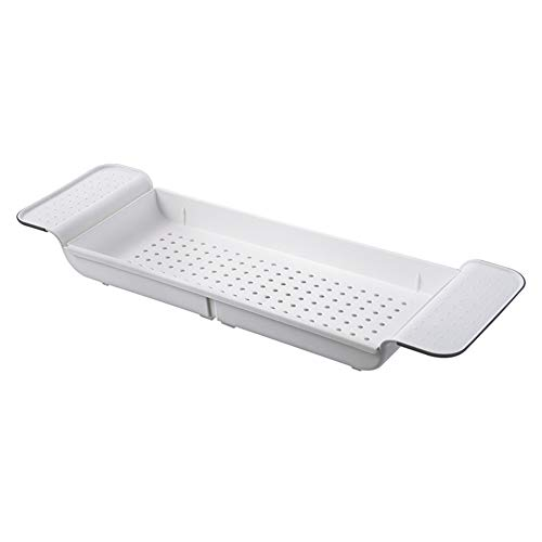 Bathtub Shelf Caddy Tray, Expandable Bath Table Shelf, Plastic Tub Bathtub Storage Rack Multifunctional Organizer for Book Wine Phone Bathroom Shower (White, One Pack)