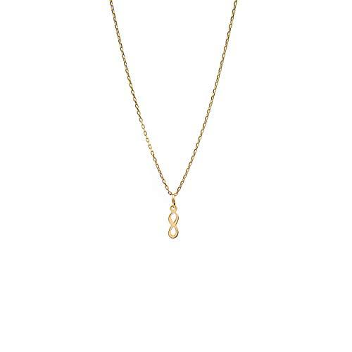 Goldene Damen Halskette 585 14k Gold Gelbgold Kette mit Anhänger Unendlichkeit Infinity Gravur