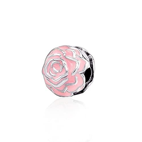 LIIHVYI Pandora Charms para Mujeres Cuentas Plata De Ley 925 Regalo De Joyería Fina con Clip De Flor Rosa Rosa Compatible con Pulseras Europeos Collars
