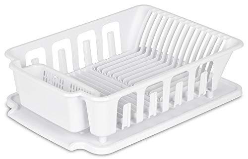 "STERILITE 2-Piece Large Sink Set Dish Rack Drainer, White (18 L x 13 3/4"" W x 5 1/2"" H), 3/4"" L x 3/4"" W x"